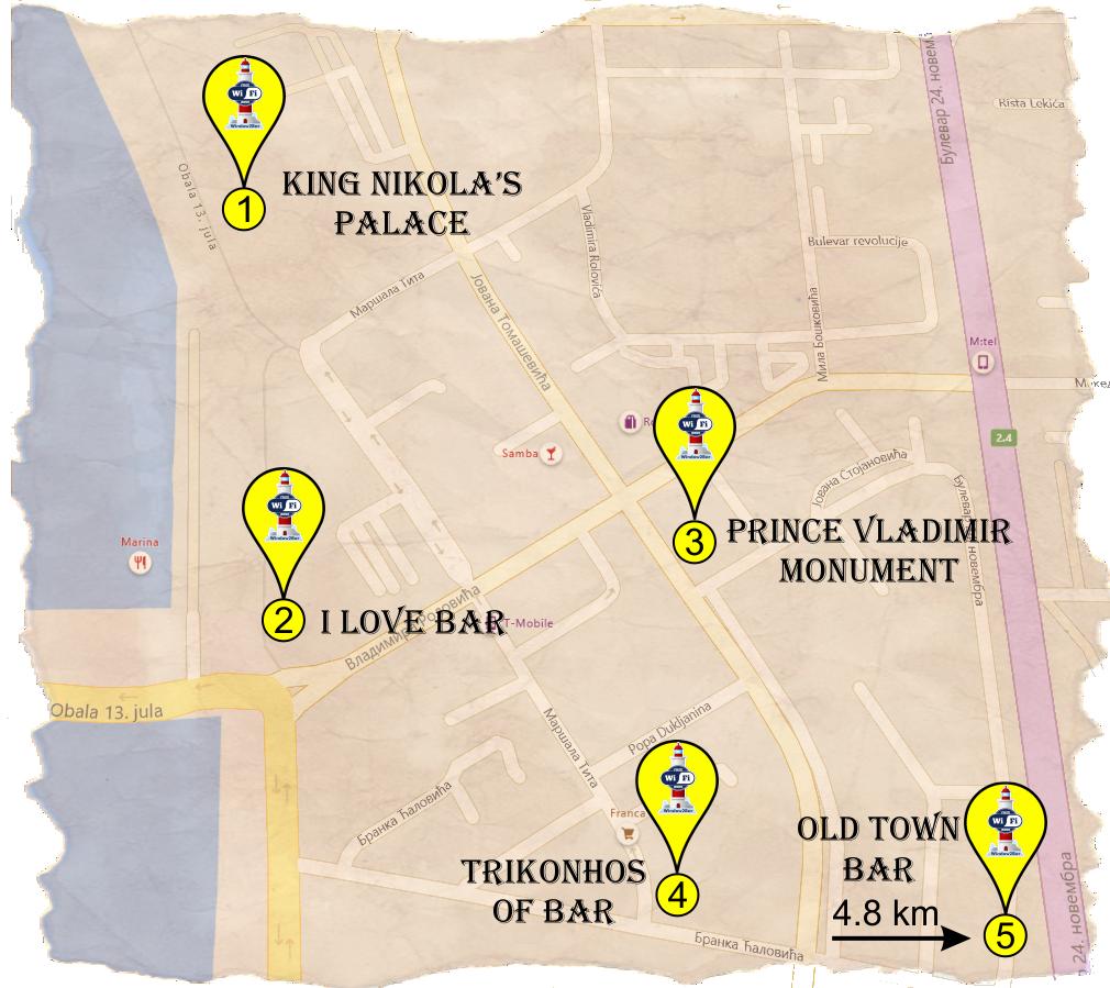 BSC Bar postavio besplatan internet za turiste na 5 lokacija u Baru